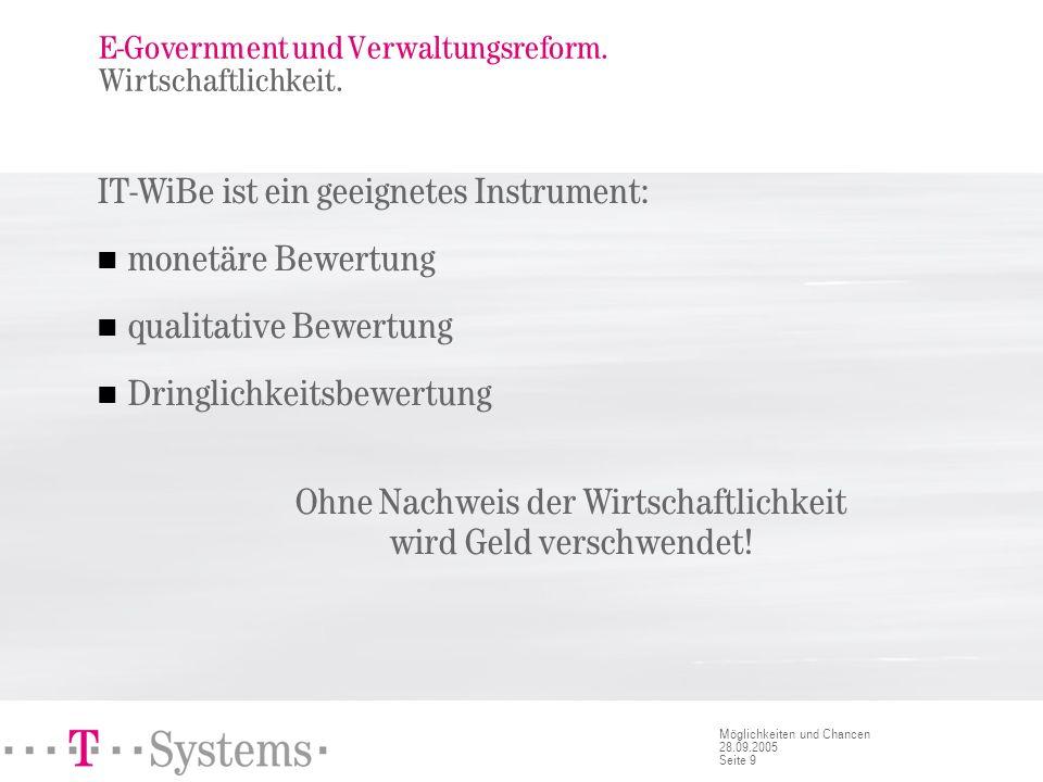 Seite 9 Möglichkeiten und Chancen 28.09.2005 E-Government und Verwaltungsreform. Wirtschaftlichkeit. IT-WiBe ist ein geeignetes Instrument: monetäre B