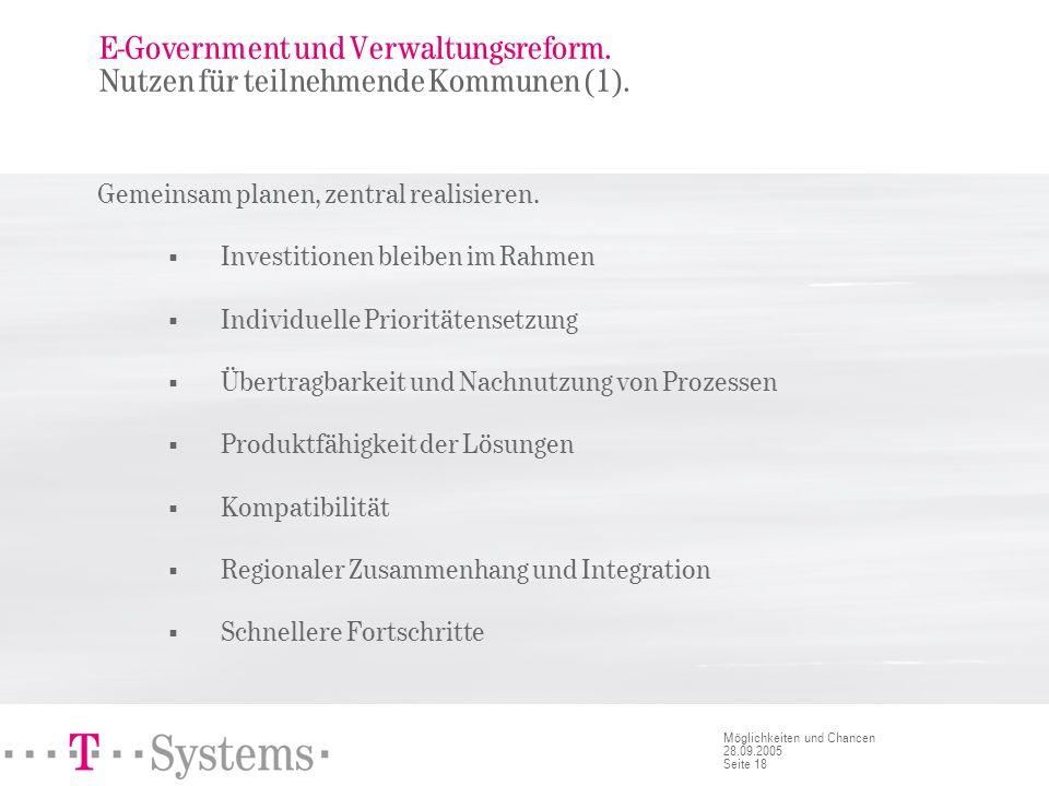 Seite 18 Möglichkeiten und Chancen 28.09.2005 E-Government und Verwaltungsreform. Nutzen für teilnehmende Kommunen (1). Gemeinsam planen, zentral real