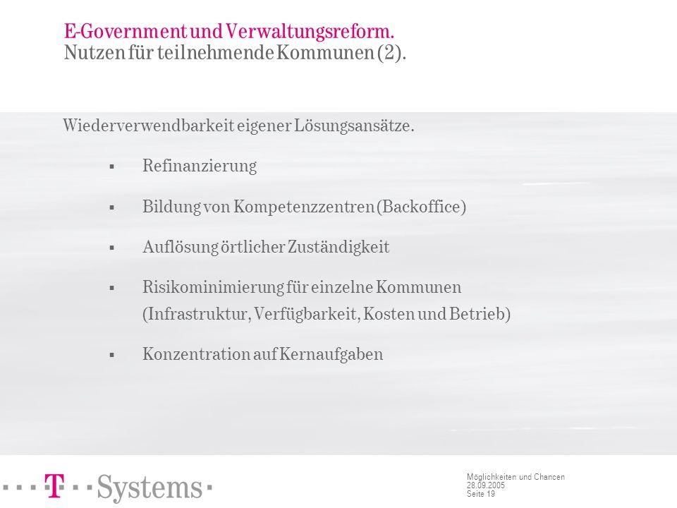 Seite 19 Möglichkeiten und Chancen 28.09.2005 E-Government und Verwaltungsreform. Nutzen für teilnehmende Kommunen (2). Wiederverwendbarkeit eigener L