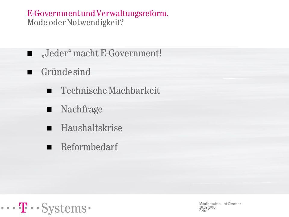 Seite 2 Möglichkeiten und Chancen 28.09.2005 E-Government und Verwaltungsreform. Mode oder Notwendigkeit? Jeder macht E-Government! Gründe sind Techni