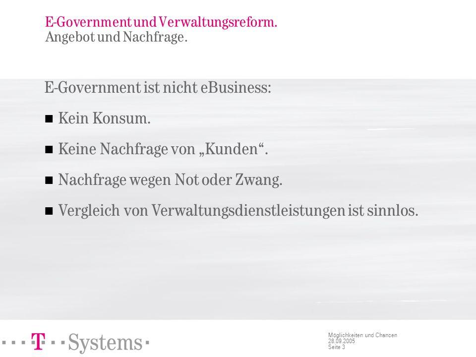 Seite 3 Möglichkeiten und Chancen 28.09.2005 E-Government und Verwaltungsreform. Angebot und Nachfrage. E-Government ist nicht eBusiness: Kein Konsum.