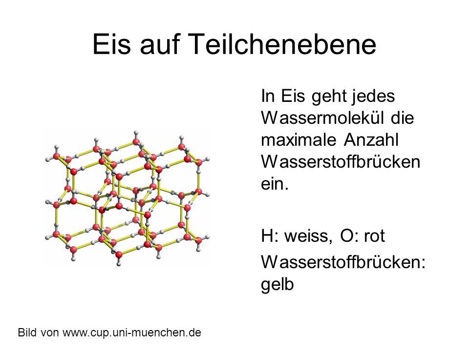 Eis auf Teilchenebene In Eis geht jedes Wassermolekül die maximale Anzahl Wasserstoffbrücken ein.