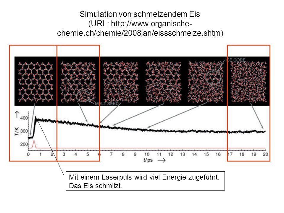 Simulation von schmelzendem Eis (URL: http://www.organische- chemie.ch/chemie/2008jan/eissschmelze.shtm) Mit einem Laserpuls wird viel Energie zugeführt.