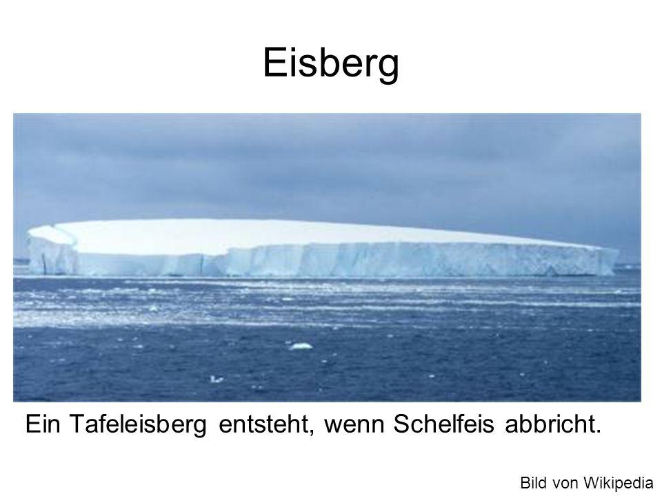Eisberg Ein Tafeleisberg entsteht, wenn Schelfeis abbricht. Bild von Wikipedia