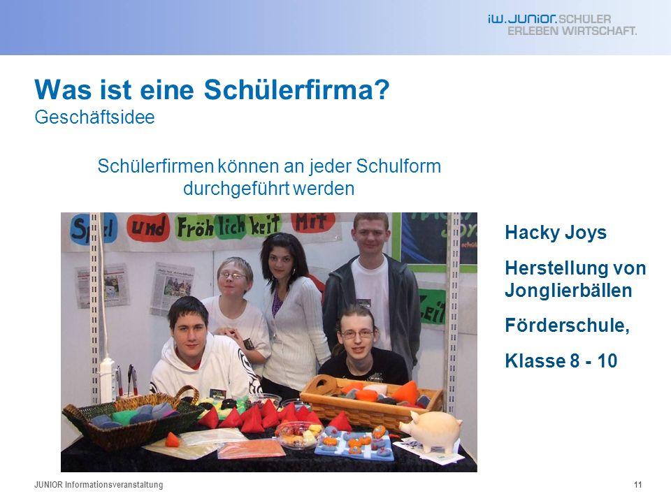 Was ist eine Schülerfirma? Geschäftsidee Hacky Joys Herstellung von Jonglierbällen Förderschule, Klasse 8 - 10 JUNIOR Informationsveranstaltung11 Schü