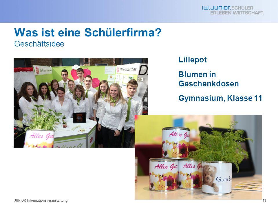 Was ist eine Schülerfirma? Geschäftsidee Lillepot Blumen in Geschenkdosen Gymnasium, Klasse 11 JUNIOR Informationsveranstaltung13