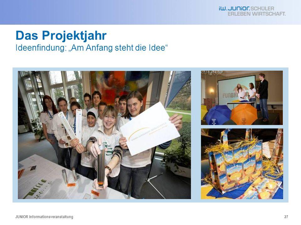 JUNIOR Informationsveranstaltung27 Das Projektjahr Ideenfindung: Am Anfang steht die Idee