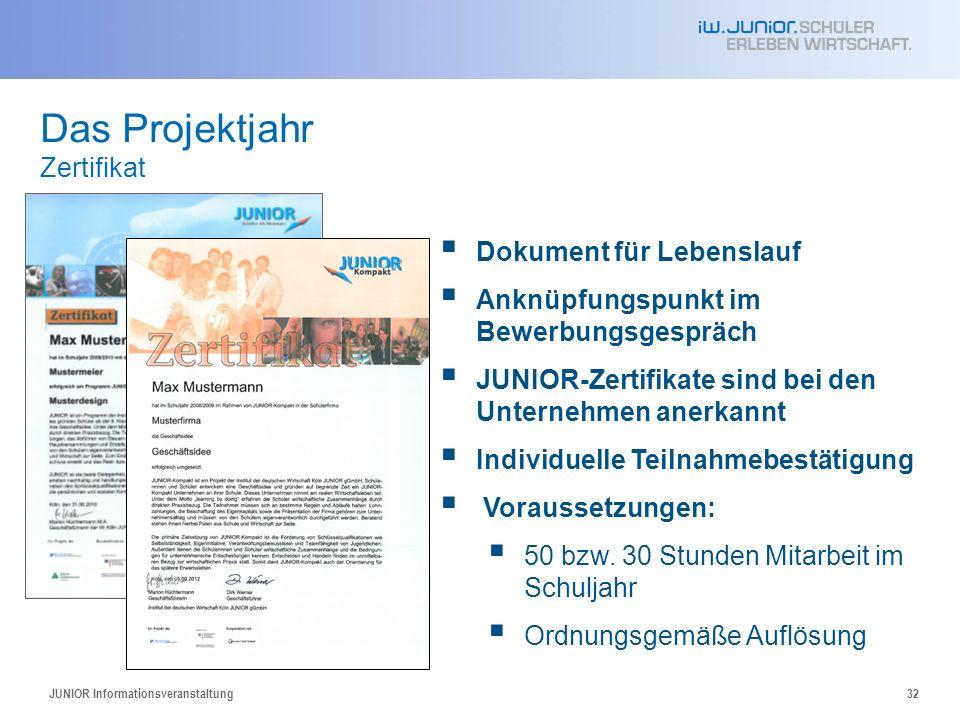 JUNIOR Informationsveranstaltung32 Das Projektjahr Zertifikat Dokument für Lebenslauf Anknüpfungspunkt im Bewerbungsgespräch JUNIOR-Zertifikate sind bei den Unternehmen anerkannt Individuelle Teilnahmebestätigung Voraussetzungen: 50 bzw.