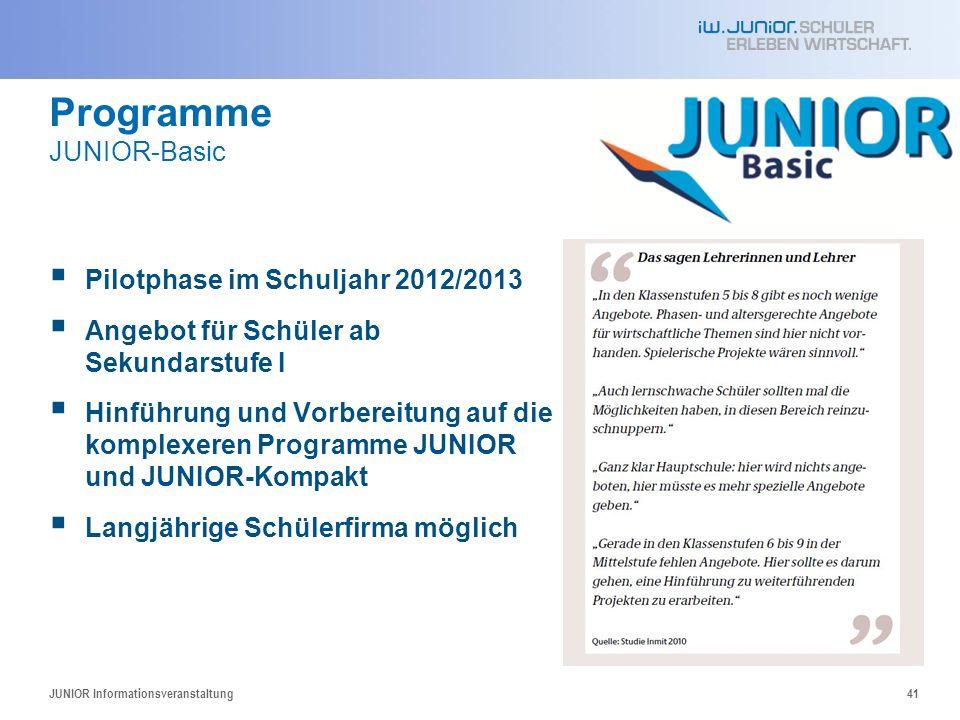 Programme JUNIOR-Basic 41 Pilotphase im Schuljahr 2012/2013 Angebot für Schüler ab Sekundarstufe I Hinführung und Vorbereitung auf die komplexeren Pro