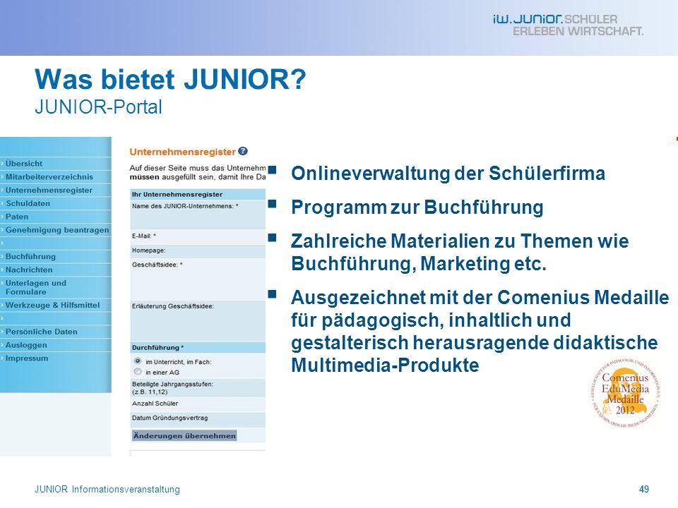 Was bietet JUNIOR? JUNIOR-Portal Onlineverwaltung der Schülerfirma Programm zur Buchführung Zahlreiche Materialien zu Themen wie Buchführung, Marketin