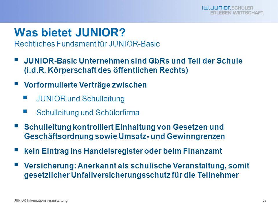 Was bietet JUNIOR? Rechtliches Fundament für JUNIOR-Basic JUNIOR-Basic Unternehmen sind GbRs und Teil der Schule (i.d.R. Körperschaft des öffentlichen
