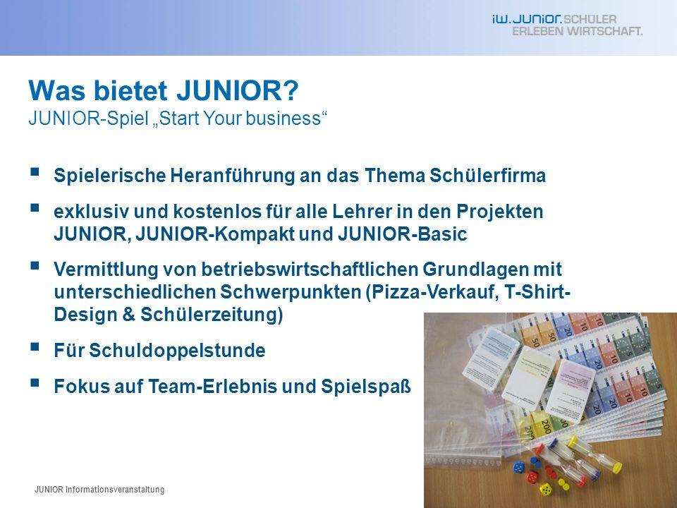 JUNIOR Informationsveranstaltung58 Was bietet JUNIOR.