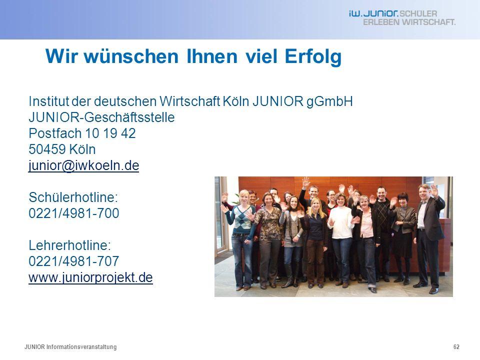 JUNIOR Informationsveranstaltung62 Wir wünschen Ihnen viel Erfolg Institut der deutschen Wirtschaft Köln JUNIOR gGmbH JUNIOR-Geschäftsstelle Postfach