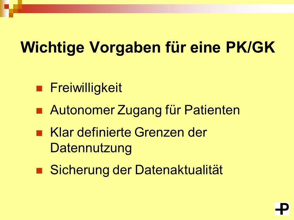Wichtige Vorgaben für eine PK/GK Freiwilligkeit Autonomer Zugang für Patienten Klar definierte Grenzen der Datennutzung Sicherung der Datenaktualität