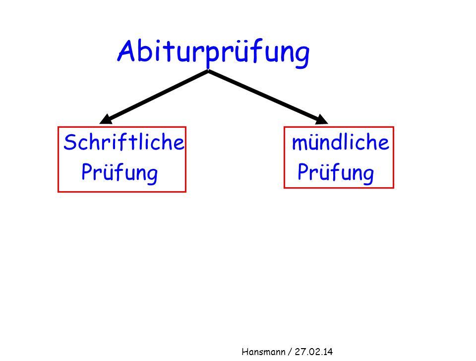 Abiturprüfung Schriftliche mündliche Prüfung Prüfung Hansmann / 27.02.14