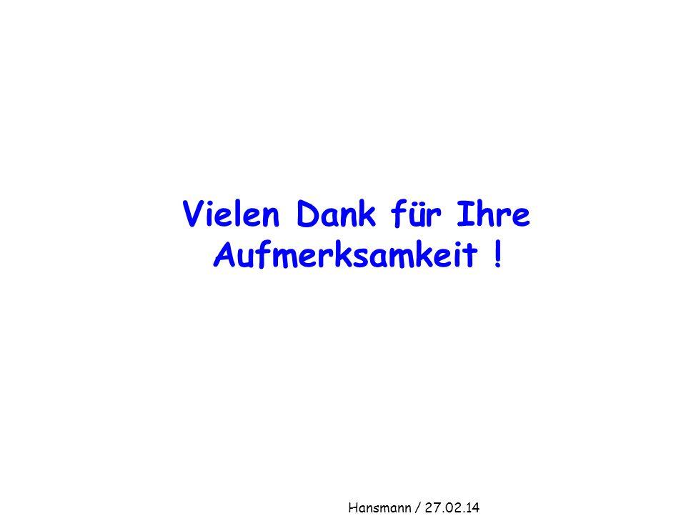 Vielen Dank für Ihre Aufmerksamkeit ! Hansmann / 27.02.14