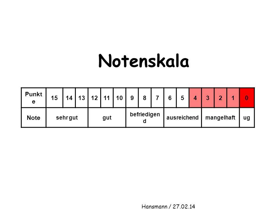Notenskala Punkt e 1514131211109876543210 Note sehr gutgut befriedigen d ausreichendmangelhaftug Hansmann / 27.02.14