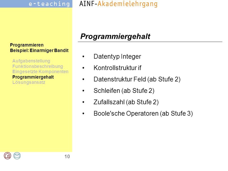 10 Programmieren Beispiel: Einarmiger Bandit Aufgabenstellung Funktionsbeschreibung Eingesetzte Komponenten Programmiergehalt Lösungsansatz Programmie