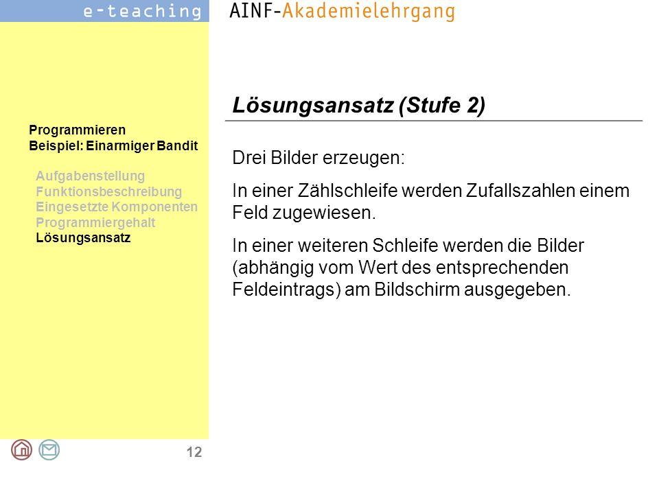 12 Programmieren Beispiel: Einarmiger Bandit Aufgabenstellung Funktionsbeschreibung Eingesetzte Komponenten Programmiergehalt Lösungsansatz Lösungsans
