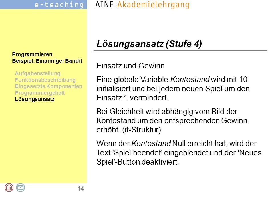 14 Programmieren Beispiel: Einarmiger Bandit Aufgabenstellung Funktionsbeschreibung Eingesetzte Komponenten Programmiergehalt Lösungsansatz Lösungsans