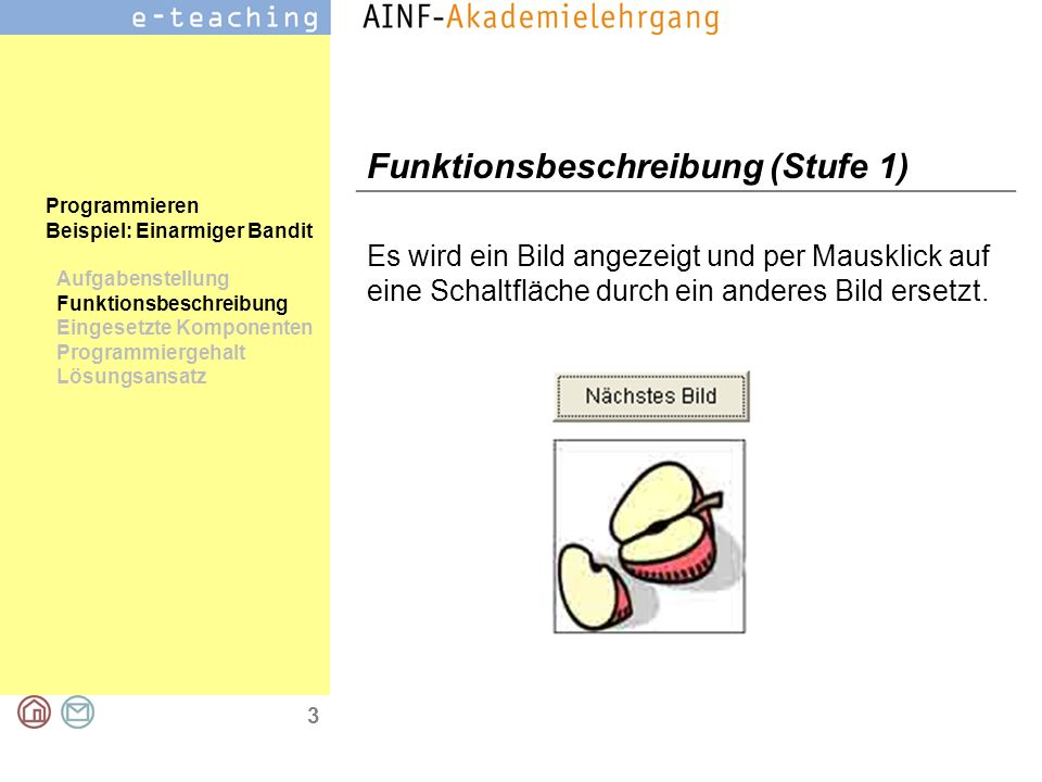 3 Programmieren Beispiel: Einarmiger Bandit Aufgabenstellung Funktionsbeschreibung Eingesetzte Komponenten Programmiergehalt Lösungsansatz Funktionsbe