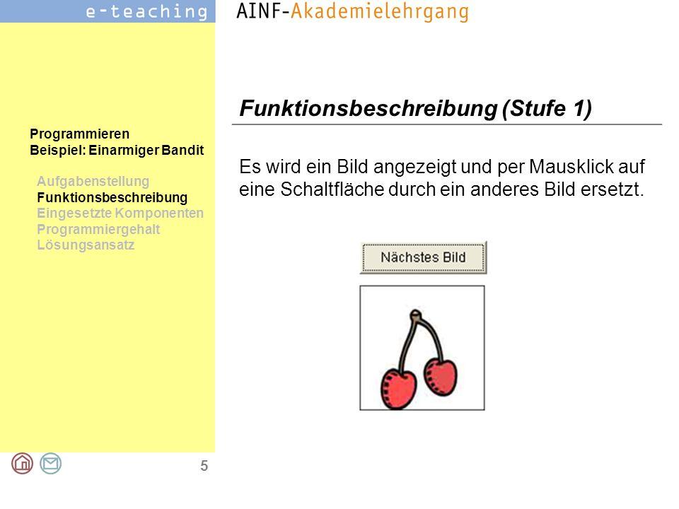 5 Programmieren Beispiel: Einarmiger Bandit Aufgabenstellung Funktionsbeschreibung Eingesetzte Komponenten Programmiergehalt Lösungsansatz Funktionsbe