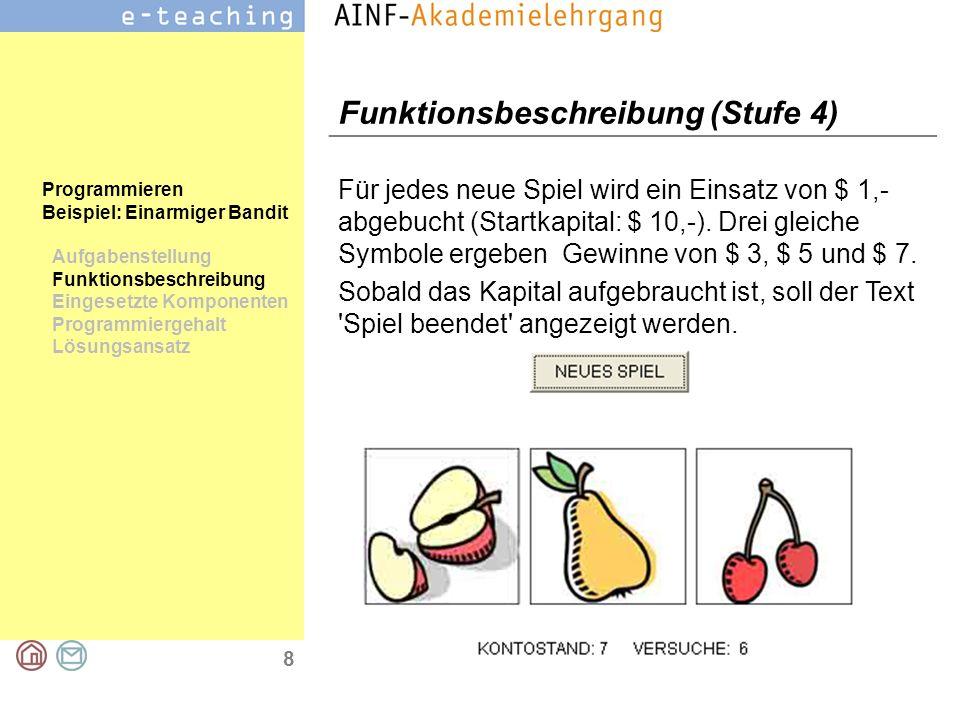 8 Programmieren Beispiel: Einarmiger Bandit Aufgabenstellung Funktionsbeschreibung Eingesetzte Komponenten Programmiergehalt Lösungsansatz Funktionsbe