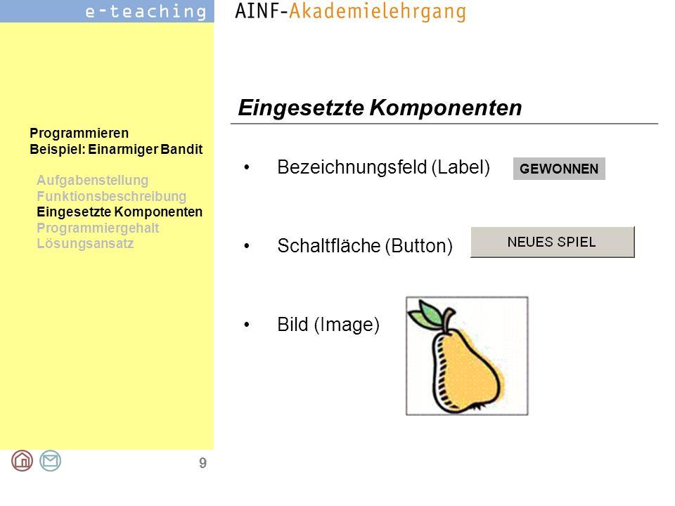 9 Programmieren Beispiel: Einarmiger Bandit Aufgabenstellung Funktionsbeschreibung Eingesetzte Komponenten Programmiergehalt Lösungsansatz Eingesetzte