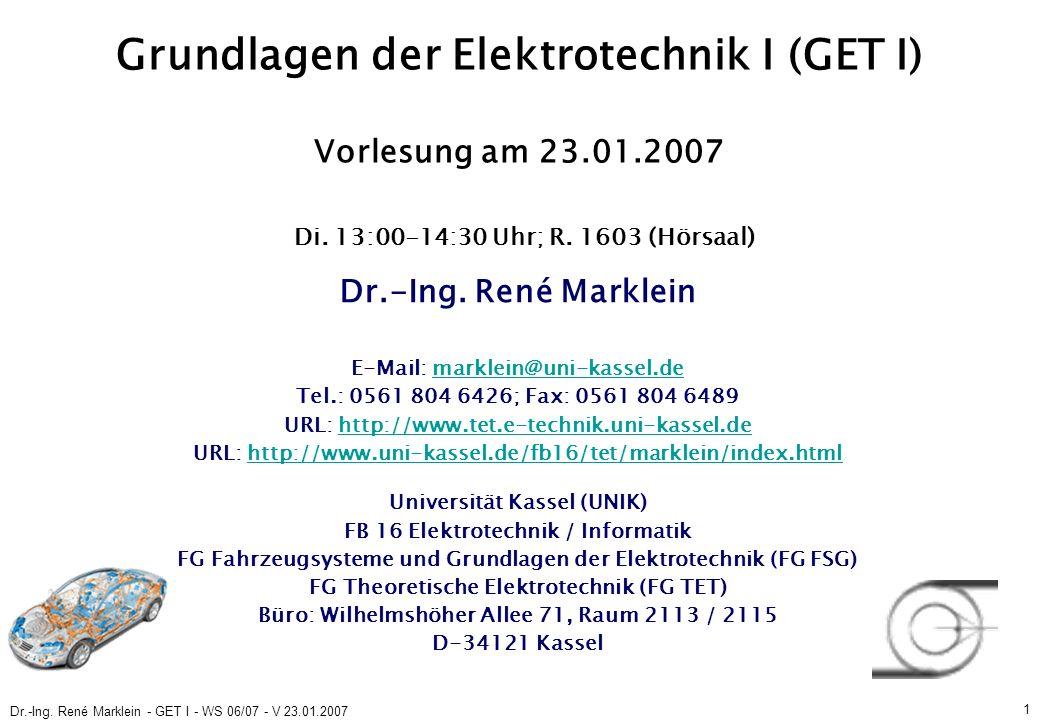 Dr.-Ing.René Marklein - GET I - WS 06/07 - V 23.01.2007 22 3.6.3.1 Plattenkondensator (S.