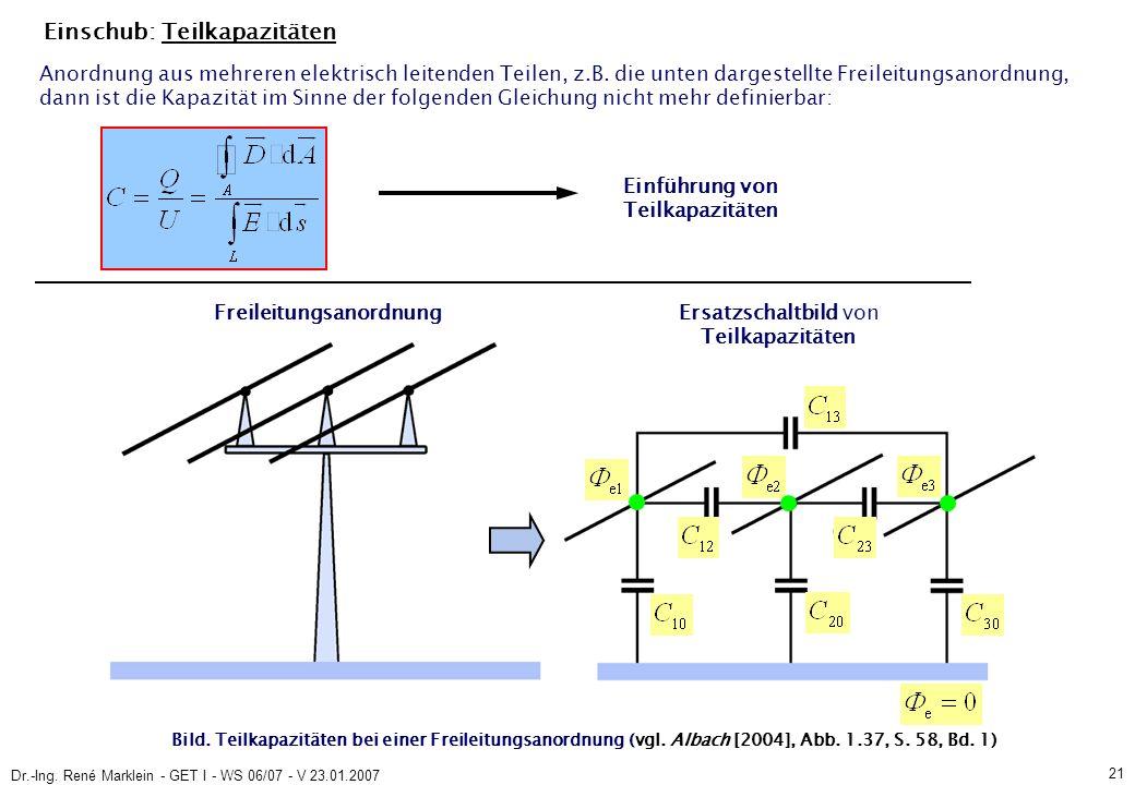 Dr.-Ing. René Marklein - GET I - WS 06/07 - V 23.01.2007 21 Einschub: Teilkapazitäten Bild.