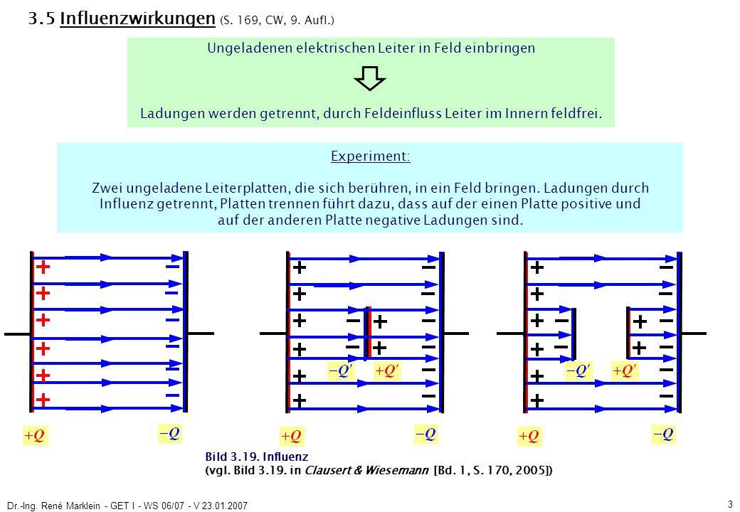 Dr.-Ing.René Marklein - GET I - WS 06/07 - V 23.01.2007 4 3.5 Influenzwirkungen (S.