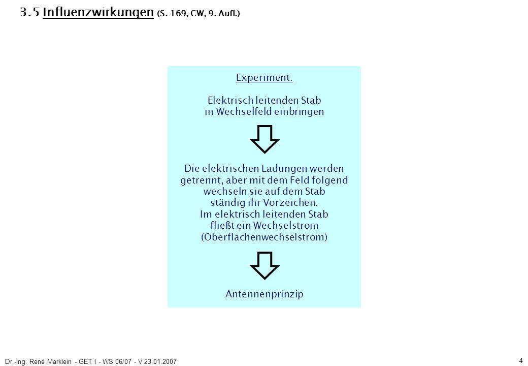Dr.-Ing.René Marklein - GET I - WS 06/07 - V 23.01.2007 5 3.5 Influenzwirkungen (S.