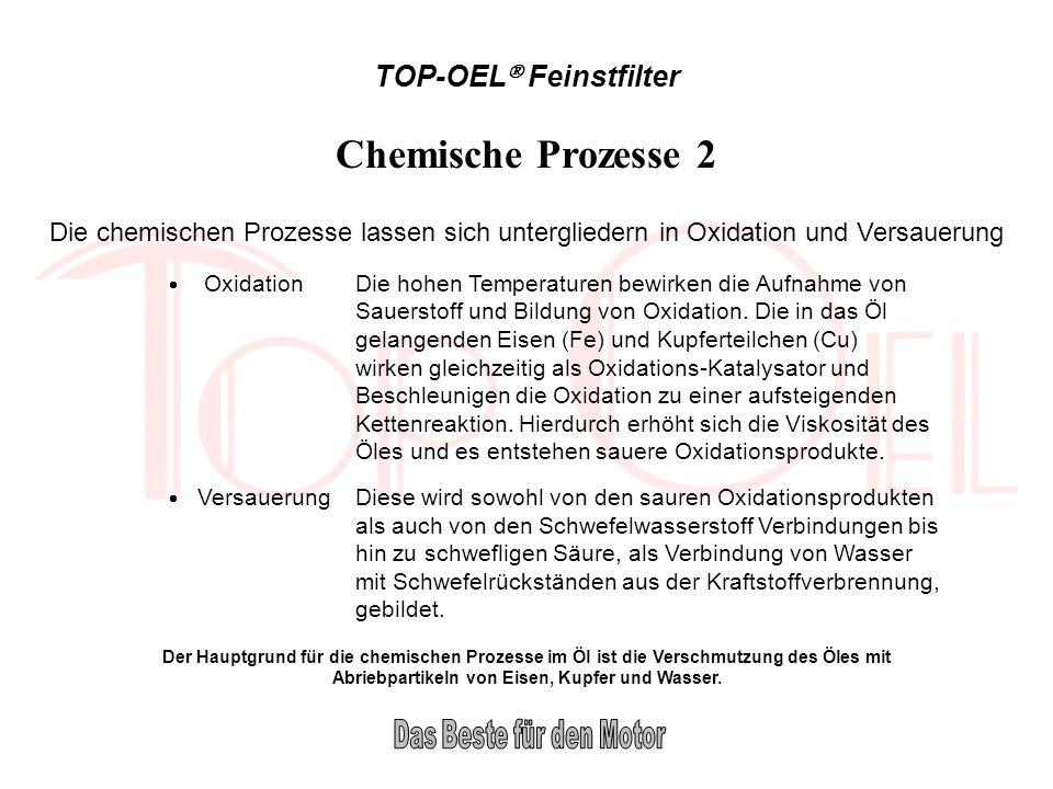TOP-OEL Feinstfilter Chemische Prozesse 2 Die chemischen Prozesse lassen sich untergliedern in Oxidation und Versauerung OxidationDie hohen Temperatur
