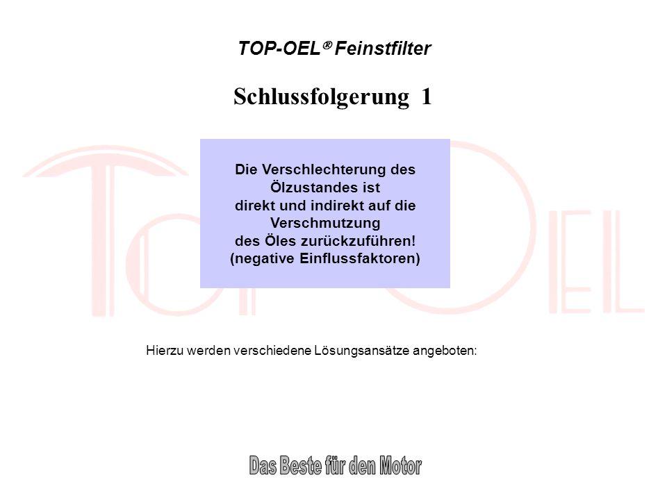 TOP-OEL Feinstfilter Schlussfolgerung 1 Die Verschlechterung des Ölzustandes ist direkt und indirekt auf die Verschmutzung des Öles zurückzuführen! (n