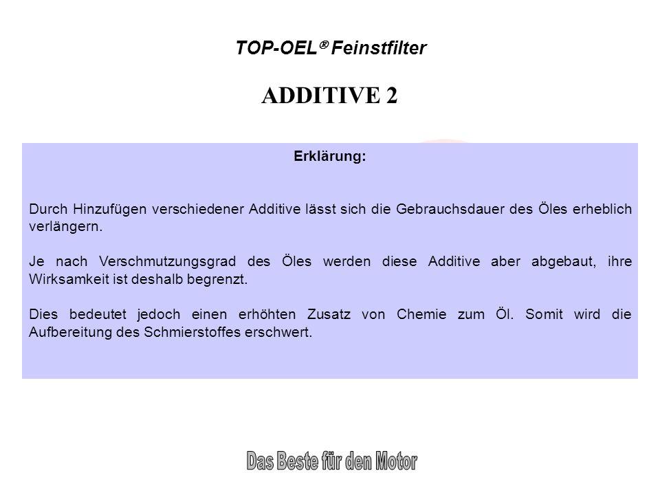 TOP-OEL Feinstfilter ADDITIVE 2 Erklärung: Durch Hinzufügen verschiedener Additive lässt sich die Gebrauchsdauer des Öles erheblich verlängern. Je nac