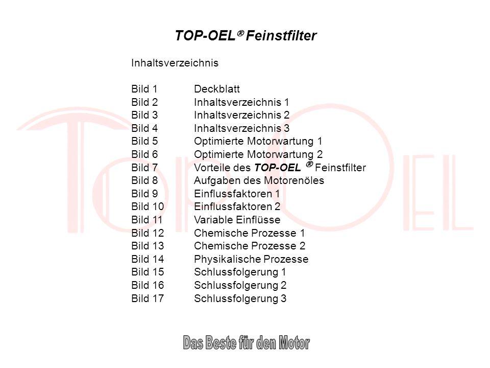 TOP-OEL Feinstfilter Inhaltsverzeichnis Bild 1Deckblatt Bild 2Inhaltsverzeichnis 1 Bild 3Inhaltsverzeichnis 2 Bild 4Inhaltsverzeichnis 3 Bild 5Optimie
