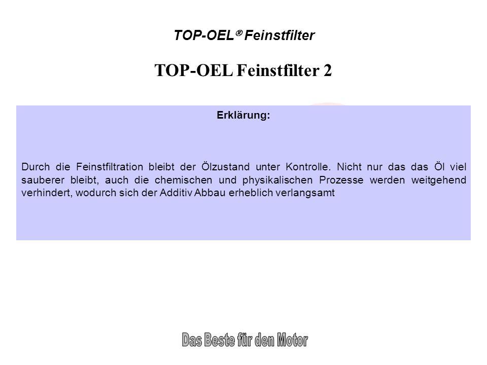 TOP-OEL Feinstfilter TOP-OEL Feinstfilter 2 Erklärung: Durch die Feinstfiltration bleibt der Ölzustand unter Kontrolle. Nicht nur das das Öl viel saub