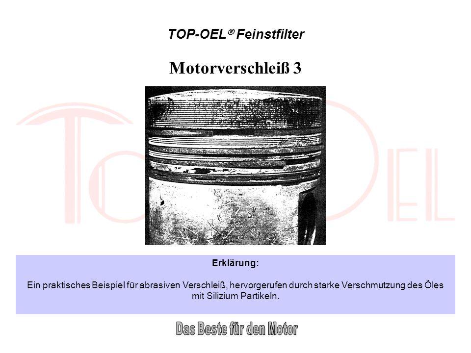 TOP-OEL Feinstfilter Motorverschleiß 3 Erklärung: Ein praktisches Beispiel für abrasiven Verschleiß, hervorgerufen durch starke Verschmutzung des Öles