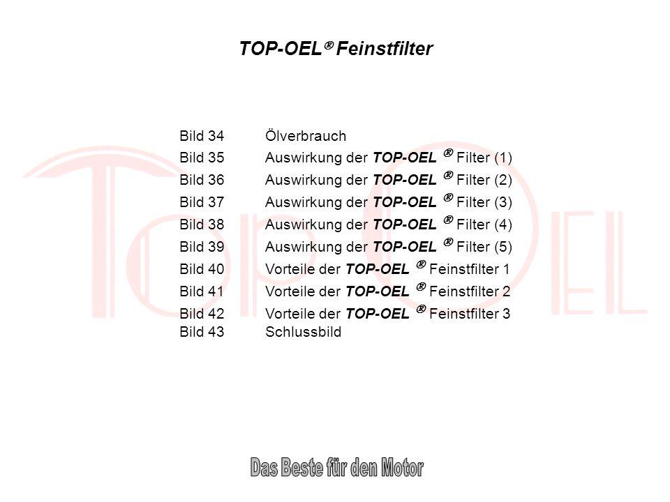 TOP-OEL Feinstfilter Bild 34Ölverbrauch Bild 35Auswirkung der TOP-OEL Filter (1) Bild 36Auswirkung der TOP-OEL Filter (2) Bild 37Auswirkung der TOP-OE