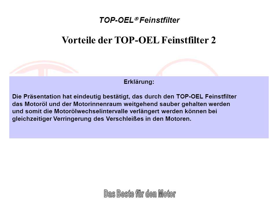 TOP-OEL Feinstfilter Vorteile der TOP-OEL Feinstfilter 2 Erklärung: Die Präsentation hat eindeutig bestätigt, das durch den TOP-OEL Feinstfilter das M