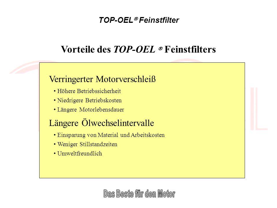 TOP-OEL Feinstfilter Vorteile des TOP-OEL Feinstfilters Verringerter Motorverschleiß Höhere Betriebssicherheit Niedrigere Betriebskosten Längere Motor
