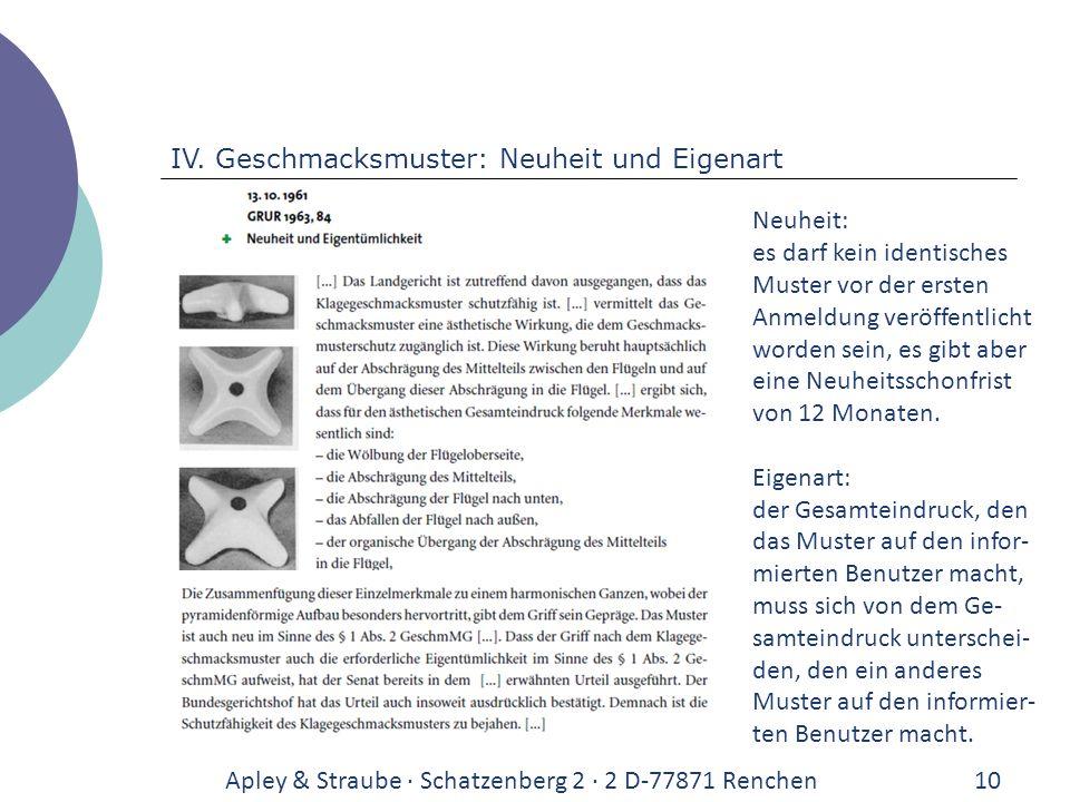 Apley & Straube · Schatzenberg 2 · 2 D-77871 Renchen10 IV. Geschmacksmuster: Neuheit und Eigenart Neuheit: es darf kein identisches Muster vor der ers