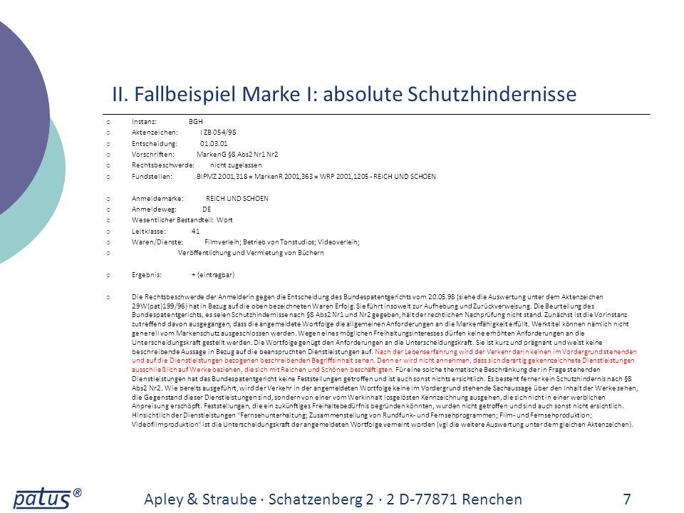 Apley & Straube · Schatzenberg 2 · 2 D-77871 Renchen8 Instanz: BGH Aktenzeichen: I ZB 054/98 Entscheidung: 01.03.01 Vorschriften: MarkenG §8 Abs2 Nr1 Abs3 Rechtsbeschwerde: nicht zugelassen Fundstellen: BlPMZ 2001,318 = GRUR 2001,1042 = MarkenR 2001,363 = WRP 2001,1205 - REICH UND SCHOEN Anmeldemarke: REICH UND SCHOEN Anmeldeweg: DE Wesentlicher Bestandteil: Wort Leitklasse: 41 Waren/Dienste: Fernsehunterhaltung; Zusammenstellung von Rundfunk- und Fernsehprogrammen; Film- und Fernsehproduktion; Videofilmproduktion Ergebnis: -- (nicht eintragbar) Die Rechtsbeschwerde der Anmelderin gegen die Entscheidung des Bundespatentgerichts vom 20.05.98 (siehe die Auswertung unter dem Aktenzeichen 29W(pat)199/96) hat in Bezug auf die oben bezeichneten Dienstleistungen keinen Erfolg.