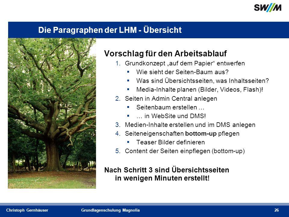 Christoph GernhäuserGrundlagenschulung Magnolia26 Die Paragraphen der LHM - Übersicht Vorschlag für den Arbeitsablauf 1.Grundkonzept auf dem Papier entwerfen Wie sieht der Seiten-Baum aus.