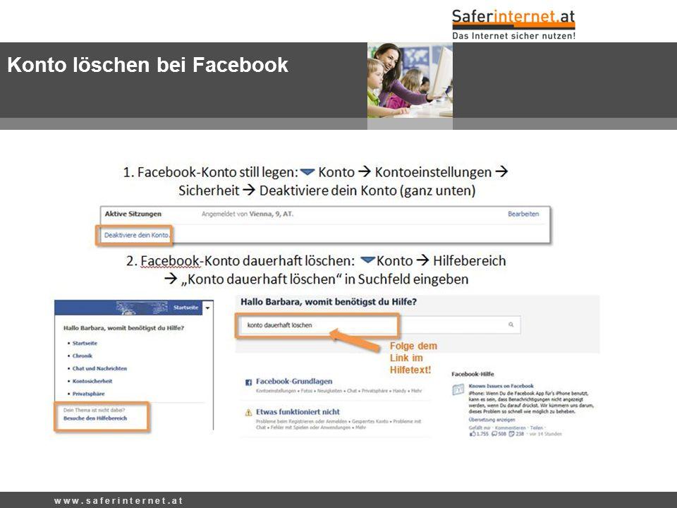 Konto löschen bei Facebook