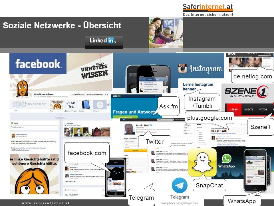 de.netlog.com w w w. s a f e r i n t e r n e t. a t Soziale Netzwerke - Übersicht WhatsApp Twitter facebook.com Ask.fm Telegram Instagram /Tumblr plus