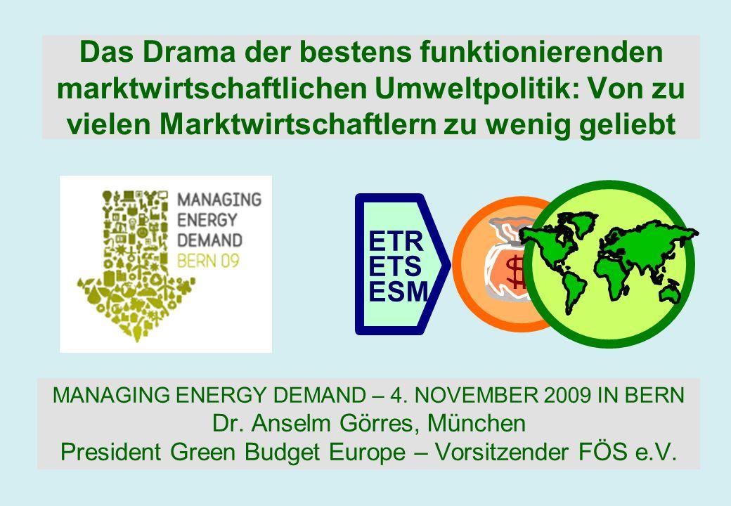 ETR ETS ESM Das Drama der bestens funktionierenden marktwirtschaftlichen Umweltpolitik: Von zu vielen Marktwirtschaftlern zu wenig geliebt MANAGING EN