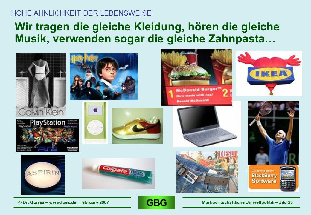 GBG © Dr. Görres – www.foes.de February 2007Marktwirtschaftliche Umweltpolitik – Bild 23 Wir tragen die gleiche Kleidung, hören die gleiche Musik, ver