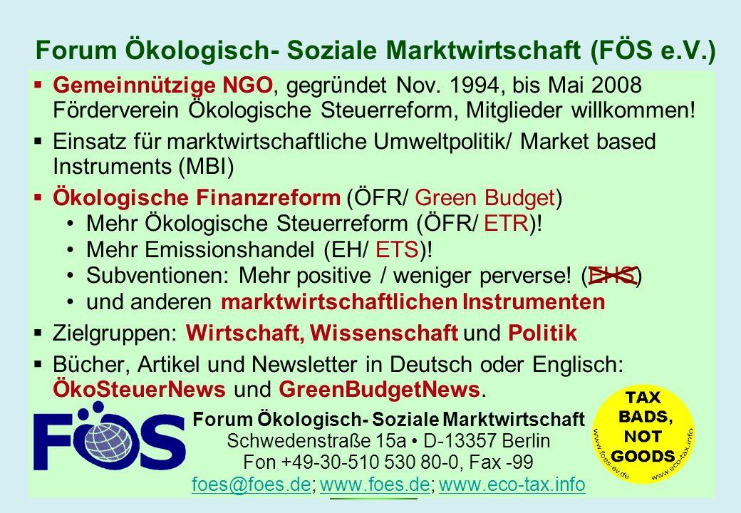 GBG © Dr. Görres – www.foes.de February 2007Marktwirtschaftliche Umweltpolitik – Bild 3 Forum Ökologisch- Soziale Marktwirtschaft (FÖS e.V.) Gemeinnüt