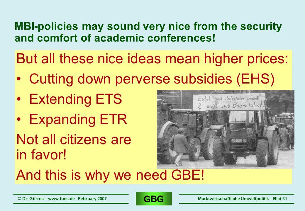 GBG © Dr. Görres – www.foes.de February 2007Marktwirtschaftliche Umweltpolitik – Bild 31 MBI-policies may sound very nice from the security and comfor